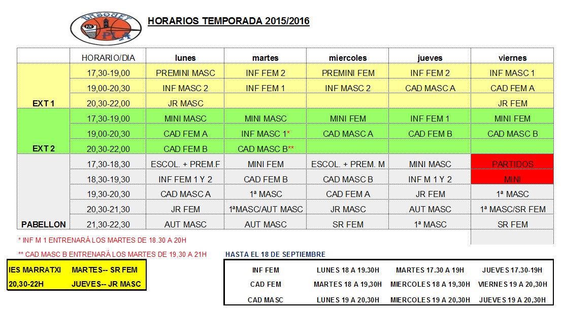 HORARIOS TEMP 15-16